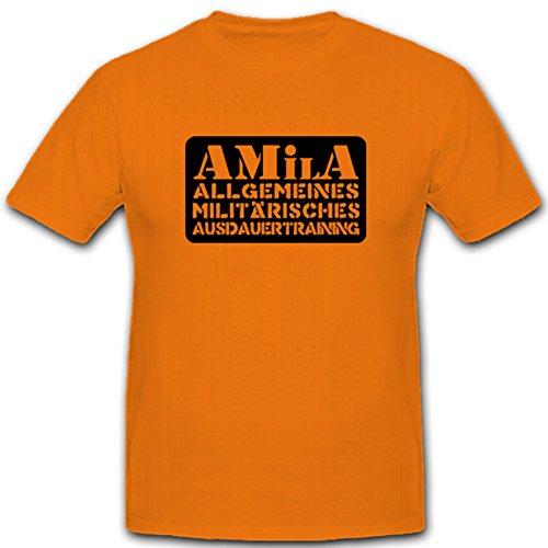 Amila allgemeines militärisches Ausdauertraining Sport Bundeswehr Training Fitness Humor - T Shirt #4766, Farbe:Orange, Größe:Herren S -
