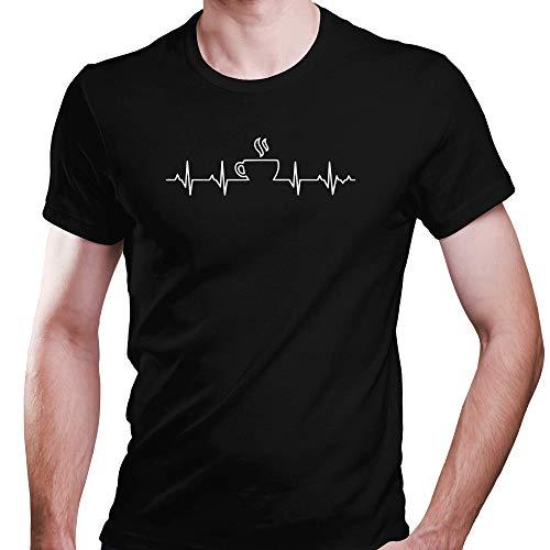 DragonHive Herren T-Shirt Kaffee EKG Lebenlinie Coffee Lifeline Cafe Motiv Informatiker, Größe:M, Farbe:Schwarz - Herren-bohnen