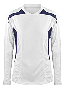 Time to Run Women's Velocity Long Sleeve Running T Shirt Top Size 10 White/Navy Blue