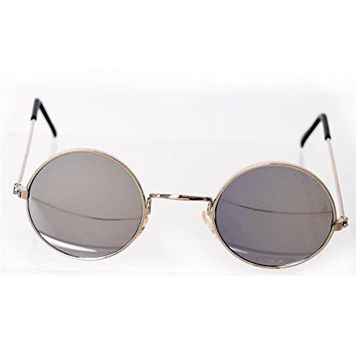 TE-Trend 70er Hippie Karneval Brille rund Silber Kostüm Zubehör Partybrille Flower Power Lennon ()
