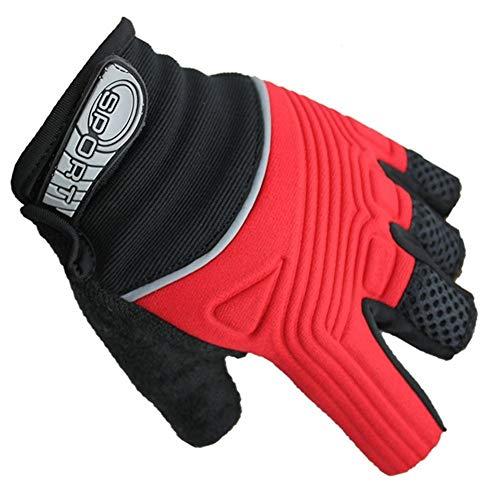 Geprägte Fahrradhalbfingerhandschuhe Outdoor Sport Parkour Schutzhandschuhe Handschuhe (Color : Red, Size : XL)
