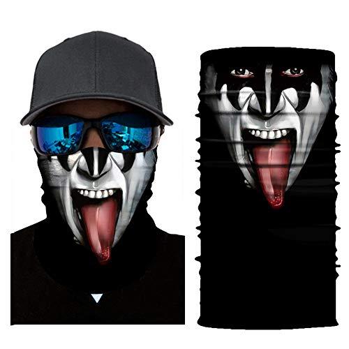 Wokee Multifunktionstuch Gesichtsmaske Radfahren Motorrad Neck Tube Ski Schal Gesichtsmaske Balaclava Halloween Party Motorradmaske Sturmmaske Maske für Motorrad Ski (Halloween Schal)