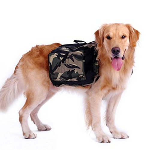 LineNow Hunderucksack Reisen Camping Wandern für mittelgroße & Large Hunde aus Oxford-Stoff Tarnfarbe L