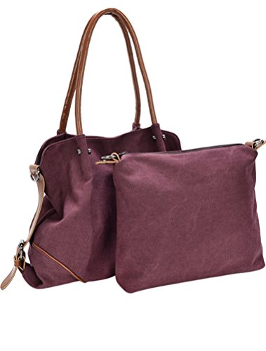 MatchLife da donna Borsa di tela spalla borsa 3Pezzi Set con piccola borsa e borsellino, Cameo (marrone) - CLSL0213-Cameo Wine Red