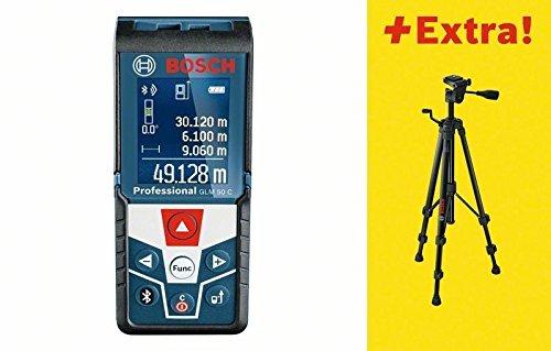 Preisvergleich Produktbild Bosch 06159940H0 50C Distanzmessgerät/Laser-Entfernungsmesser GLM C Professional | + Baustativ BT 150, Messen von Längen, Flächen, Volumen und Neigungen | Messerbereich: 0,05 – 50 m, 1.5 V, Schwarz