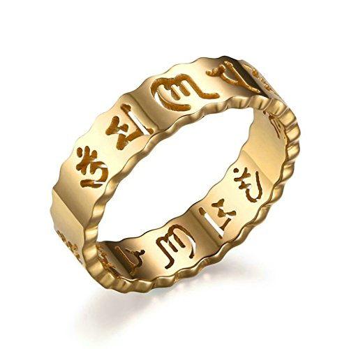 Daesar Edelstahl Ring Gold Hollow Out Om Mani Padme Hum Damen Lucky Ringe Größe:57 (18.1)