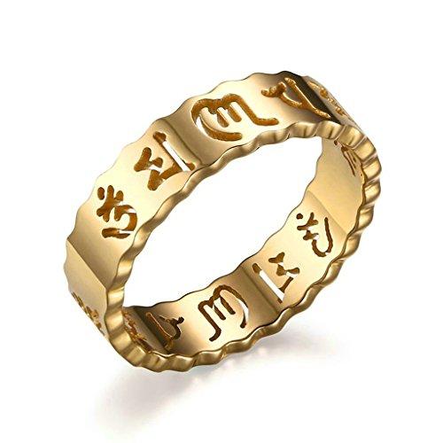 Daesar Edelstahl Ring Gold Hollow Out Om Mani Padme Hum Damen Lucky Ringe Größe:57 (Amor Griechisch Kostüm)