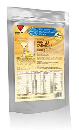 Premium Power Eiweiss Vanille Zabaione 500 g mit L-Carnitin, Chemical Score von 155, Zink und Vitamin D