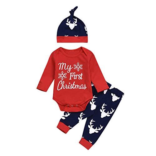 Allence 'My First Christmas ' Weihnachten Neugeboren Rentier Strampler Mädchen Jungen Outfits 3 Stück Spielanzug + Hose + Hut Set Niedlich Party Anzüge Kinder Outfits -