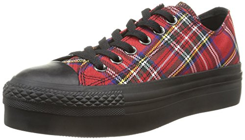 Converse Herren, , a/s ox platform textile, mehrfarbig (red tartan/black), 40