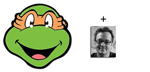 Michelangelo Teenage Mutant Ninja Turtles Karte Partei Gesichtsmasken (Maske) - Enthält 6X4 (15X10Cm) starfoto