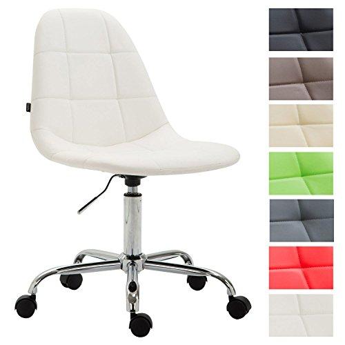 CLP Bürostuhl Reims mit Kunstlederbezug I Schreibtischstuhl mit Laufrollen und gestepptem Sitz I Höhenverstellbarer Drehstuhl I erhältlich Weiß
