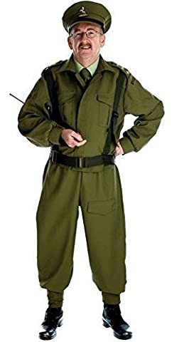 Mens WW1 WW2 1940s Home Guard Army Armed Forces Military Fancy Dress Costume Outfit M-XL (Large)