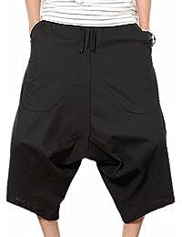 QIYUN.Z Los Hombres De Los Pantalones Cortos Del Harem Retro Capri De Hip-Hop