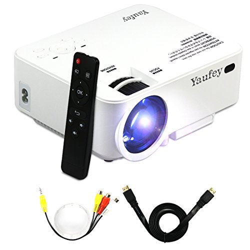 Yaufey 1500 Lumens Mini LCD Beamer, Portable LED LCD Projektor Heimkino Theater mit PC Laptop USB / SD / AV / HDMI Eingang Taschenbeamer Projektor für Video Film Spiel Home Entertainment Projektor, Weiß