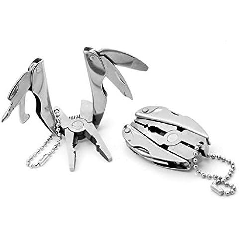 Y&XL&H Multifunzionale metallo pinze mini pinze di utilità all'aperto in metallo portachiavi portachiavi - Gomma In Acciaio Inox Portachiavi