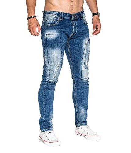 BetterStylz LeftbankBZ Herren Jeans Vintage Destroyed Used Look Hose mit Flicken Denim Destroyed (28-38) Denim Destroyed
