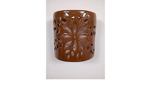 Applique da parete lampada lanterna in ceramica terracotta