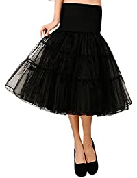 Feoya Mujer Enaguas Tutu Tul Retro 50s Vintage Falda para Danza Baile Miriñaque Underskirt