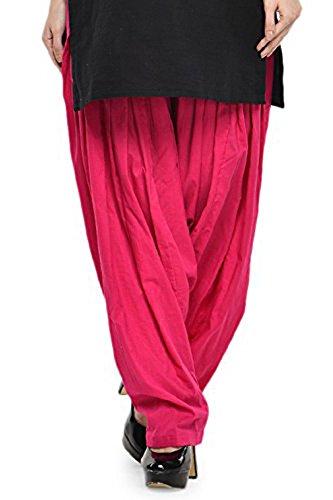 Kurti Studio Women\'s Cotton Semi Patiala Salwar (semip07_Dark Pink_Free Size)