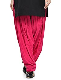 Kurti Studio Women's Cotton Semi Patiala Salwar (semip07_Dark Pink_Free Size)