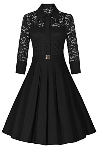 YACUN Les Femmes Vintage 3 / 4 Manche Lace Swing Midi Cocktail Robe Black