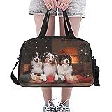 Duffel petit chien de race Berger australien Aussie Happy Yoga Gym Tote Fitness sacs fourre-tout Sacs à main Sacs polochons Poche à chaussures pour bagages de sport Womens Outdoor Womens Sacs à main e