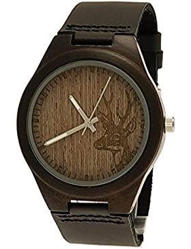 Handgefertigte Holzwerk Germany® Designer Hirsch Unisex Damen-Uhr Herren-Uhr Öko Vegan Natur Holz-Uhr Leder Armband-Uhr...