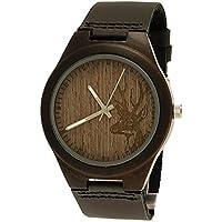 'Pure Time® Designer Orologio Öko legno naturale Bracciale in pelle unisex in nero/marrone con motivo (Mens Nero Cervo)
