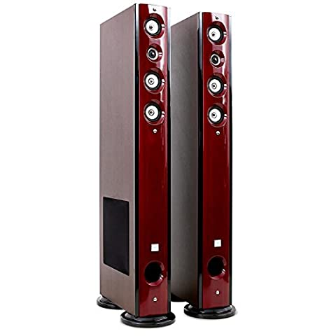 Koda - Paire d'enceintes colonnes Hifi Home Cinéma 2 x 60W RMS (5 voies, 50 Hz à 20 kHz, Bassreflex) - Bois