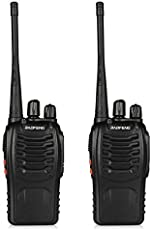 Finicky World BF-888S UHF 400-470MHz CTCSS/Dcs with Earpiece Handheld Amateur Radio Tranceiver Walkie Talkie Two Way Radio Long Range Black 2 Pack