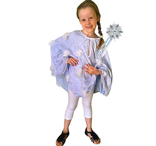 Unbekannt Kinder Kostüm EIS Prinzessin Schneeflöckchen mit Feenstab Karneval Fasching (116) (Eis Prinzessin Kostüm)