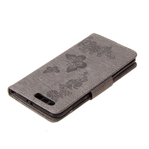 LEMORRY Huawei Honor 9 Custodia Pelle Cuoio Flip Portafoglio Borsa Sottile Bumper Protettivo Magnetico Chiusura Morbido Silicone TPU Case Cover Custodia per Huawei Honor9 / STF-L09, Fortunato Farfalla Grigio