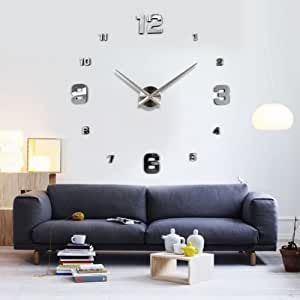 uniquebella wanduhr riesige spiegel wanduhr vinyl diy. Black Bedroom Furniture Sets. Home Design Ideas