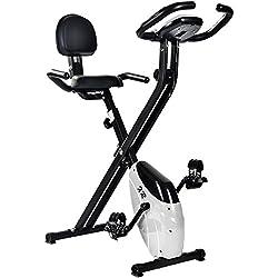 Merax® Faltbares Heimtrainer Ergometer Hometrainer F-Bike Fitness-Fahrrad Handpulssensoren/Rückenlehne/ Trainingscomputer (Weiß)