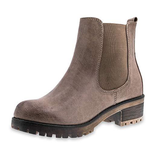 Marimo Damen Stiefeletten Chelsea Ankle Boots Lederoptik Blockabsatz Profilsohle Khaki 40