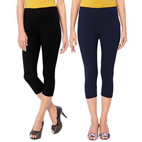 Capri Style Leggings|Navy Blue and Black| 3/4 th For Women in 95 % Cotton and 5 % Lycra Combo| Pack of 2 | Free Size Comfortable Premium Quality | Ultra Soft Fabric | High Waist For Girls | Best Fits