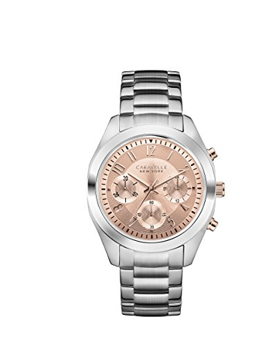 Carvelle-New-York-Silver-Womens-Quartz-Watch-with-Rose-Gold-Dial-Chronograph-Display-and-Silver-Stainless-Steel-Bracelet-45L143