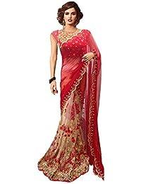 BY DESIGN Women's Net Saree With Blouse Piece (Bd-05,Multicolor ,Multicolour)
