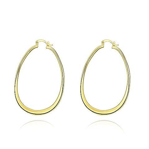 Bodya 71mm Plaqué Or jaune grande ovale Charm Boucles d'oreilles aplatie Boucles d'oreilles créoles Mode Hyperbolique