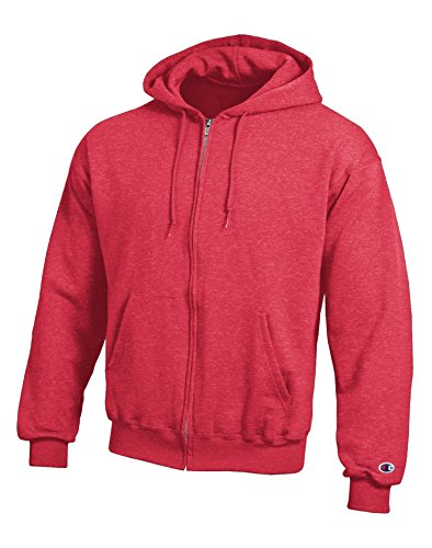 Champion S800 Unisex Adult 9 oz. 50/50 EcoSmart full-zip Hoodie ATH Green Heathr 3 x L Gr. X-Large, Rouge - SCARLET HEATHER (50 Heather)