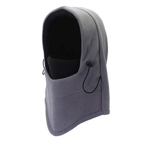 Unisex Multifunction Thermal Fleece Balaclava Hood Snood Cycling Hiking Teens Full Face Mask Neck Warmer for Skiing Snowboarding Outdoor Neckerchief Sports Hat Headwear (Grey + Black) -