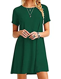 OMZIN Women Short Sleeve Loose Casual T-Shirt Tops Dress Plus Size XS-4XL US 4-18