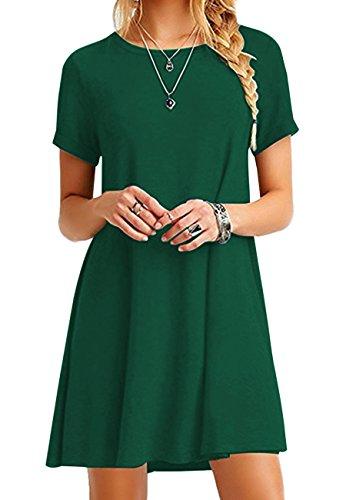 Mädchen T-shirt Kleid (OMZIN Mädchen T-Shirt Kleid Kurzarm Casual Kleid Locker Langes Shirt,Grün,XXS)