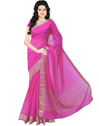 Roopkala Women Mysore Chiffon Silk Saree(DS-233,Pink)