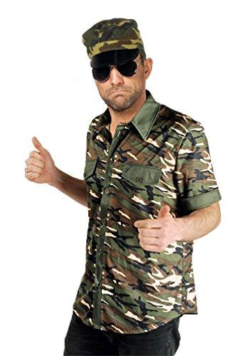 Karneval-Klamotten Soldat Kostüm Herren Hemd Soldat Militär Camouflage Uniform Karneval Herren-Kostüm Größe 46/48