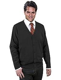 Premium Cardigan/Strickjacke Herren Schwarz/Grau/Anthrazit - Wolle/Woolmark-Qualität-Schurwolle - Öko-Tex