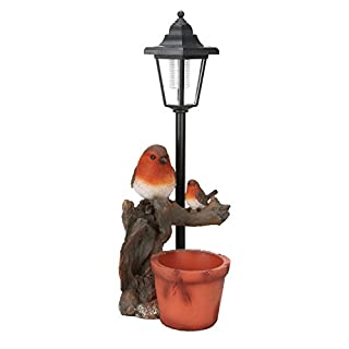 Solar Power Robin and Lamp Post LED Decorative Garden Bird Light Ornament/Planter