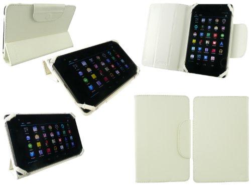 emartbuy Universal 7-8 Zoll Dreifach Gefaltete Ultra Slim Geldbörse Etui Kompatibel mit unten aufgeführten Geräten - Weiß