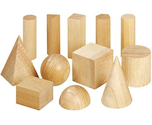 Betzold  89022 Wooden Geometric Solids, 12 Stück, beige, 5 x 7.5 cm -